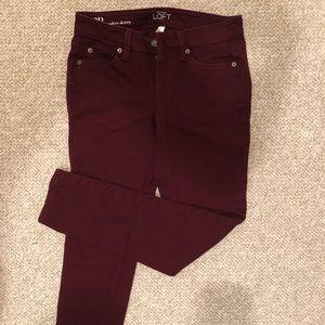 Maroon modern skinny pants